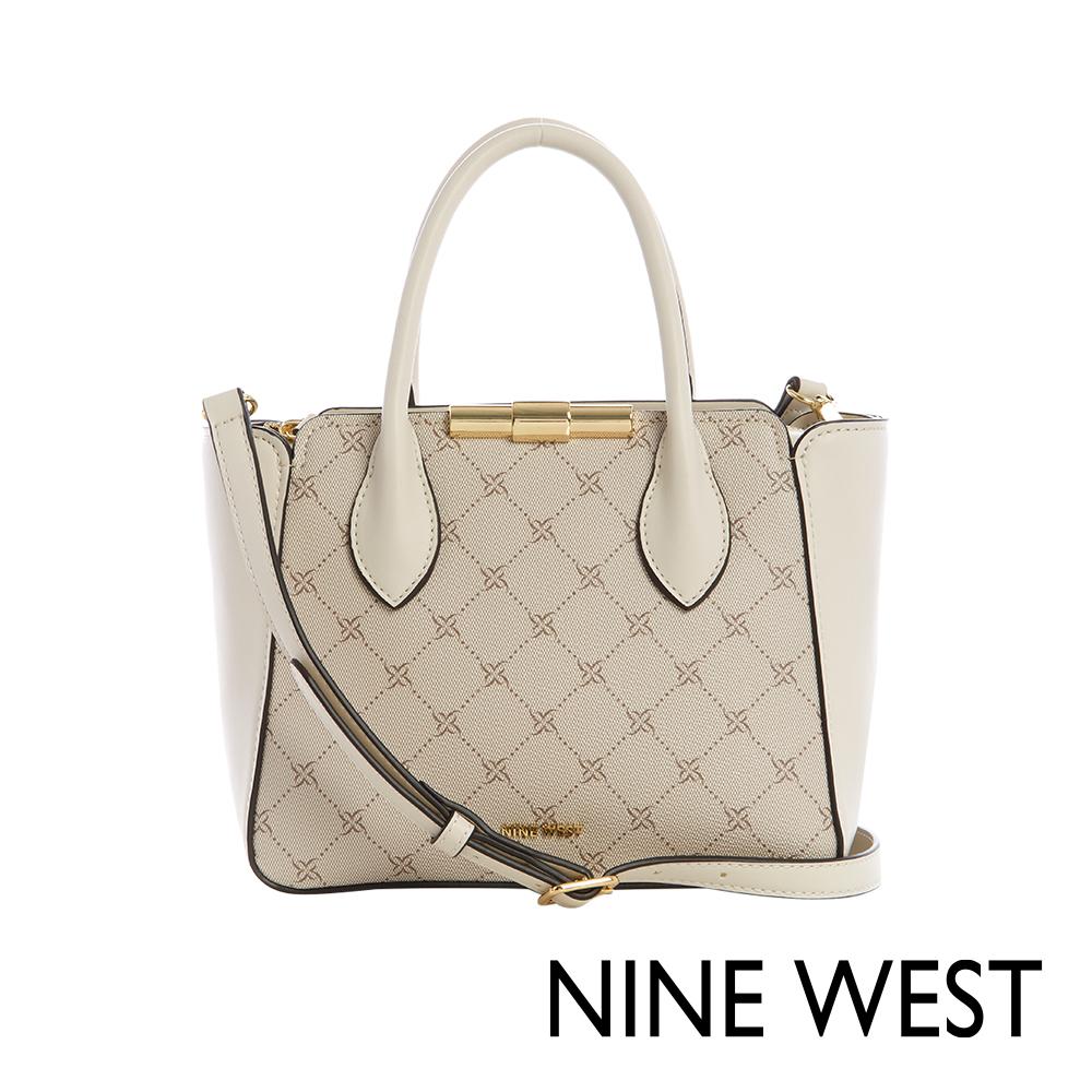 NINE WEST HOLLIS金屬釦中型手提包-經典LOGO紋(116605)