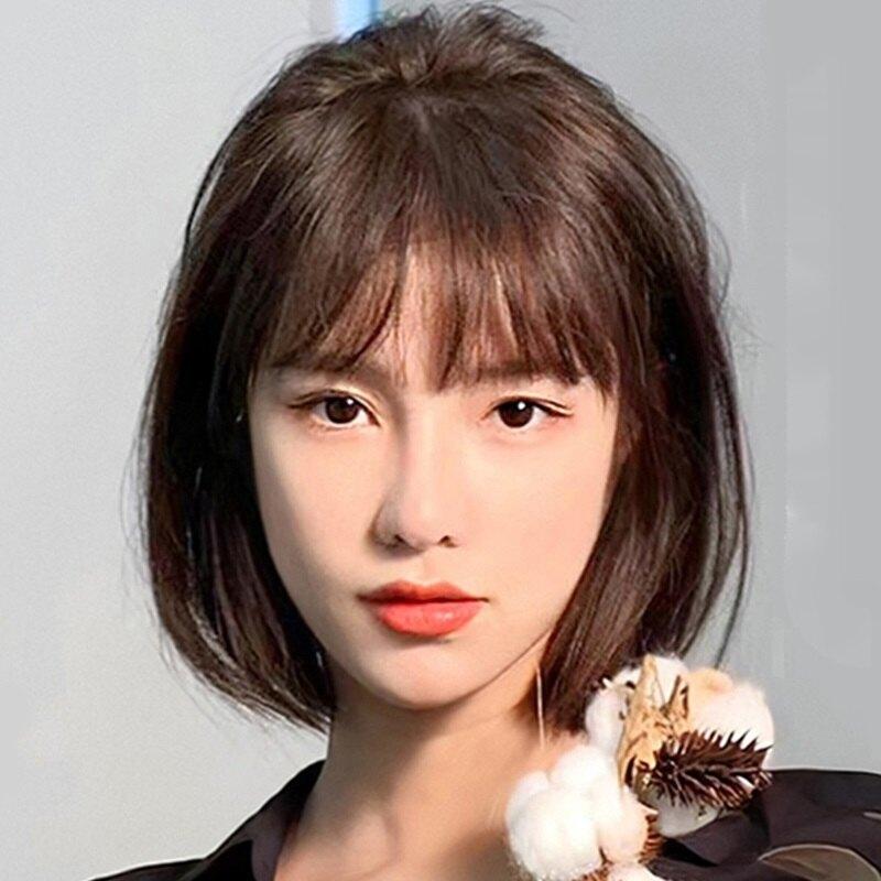 整頂假髮真髮絲-空氣瀏海韓式波波頭女假髮2色74ah24【獨家進口】【米蘭精品】