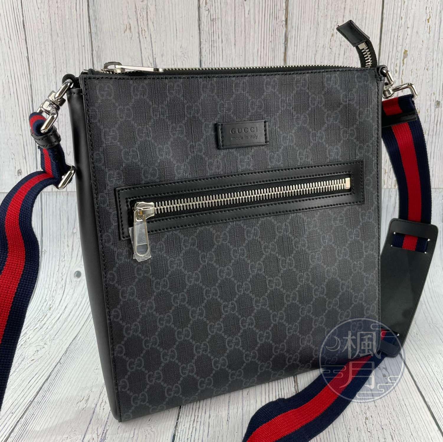 BRAND楓月 GUCCI 古馳 474137 黑PVC GG紋斜背包 肩背包 側背包 郵差包 拚皮 帆布背帶