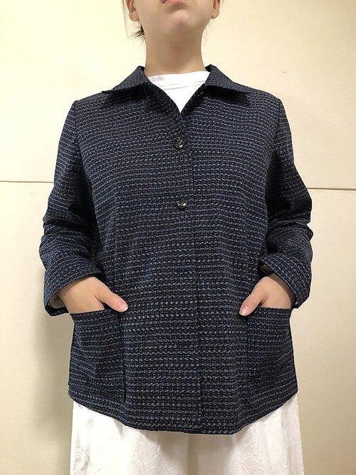 Aizen Kasuri 和服翻拍女式襯衫夾克 A