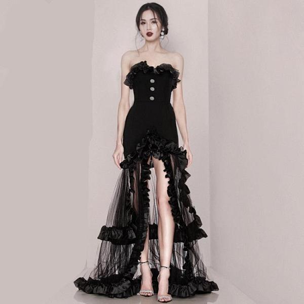 平口洋裝/一字領 黑色禮服2021新款晚禮服氣質長裙抹胸高端性感網紗赫本風連身裙女