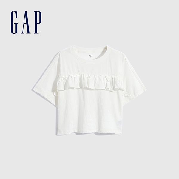 Gap女童 純棉荷葉邊蝙蝠袖T恤 899051-白色