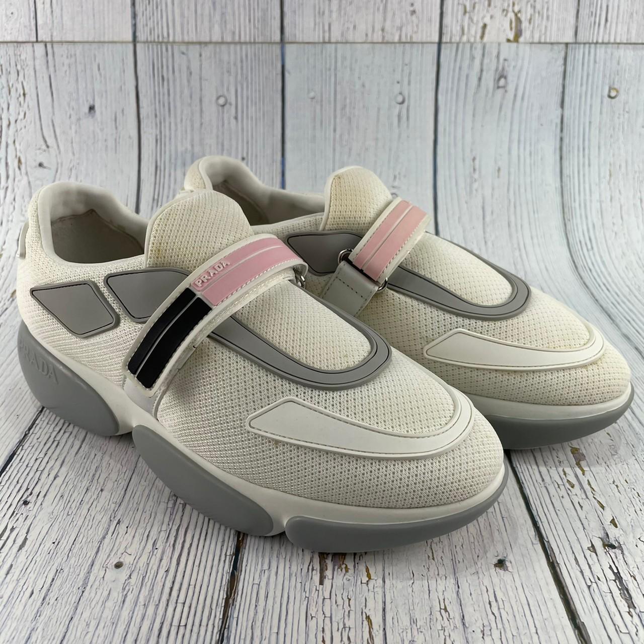 BRAND楓月 PRADA 1E293I 白色 織布 粉紅色LOGO 魔鬼氈 布鞋 運動鞋 休閒鞋 #36