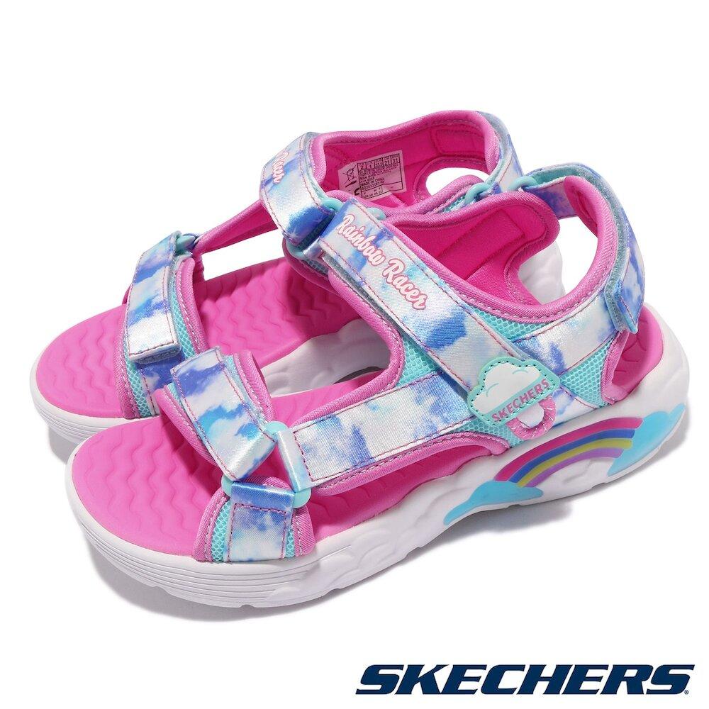 SKECHERS 涼鞋 S Lights 燈鞋 休閒鞋 童鞋 發亮 藍天白雲 魔鬼氈黏扣帶 藍 粉 [302975LBLU]
