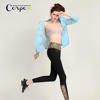 CorpoX 女款收腹型壓力褲拼接款-咖啡印花