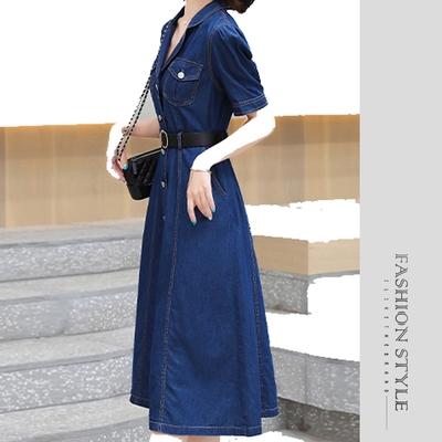 2F韓衣-撞色腰帶斜插口袋牛仔造型洋裝-牛仔藍(M-XL)