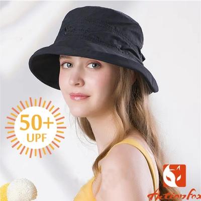 ACTIONFOX 女新款 蝶舞_抗UV抗菌排汗透氣快乾遮陽/UPF50+.中盤帽.圓盤帽_黑色