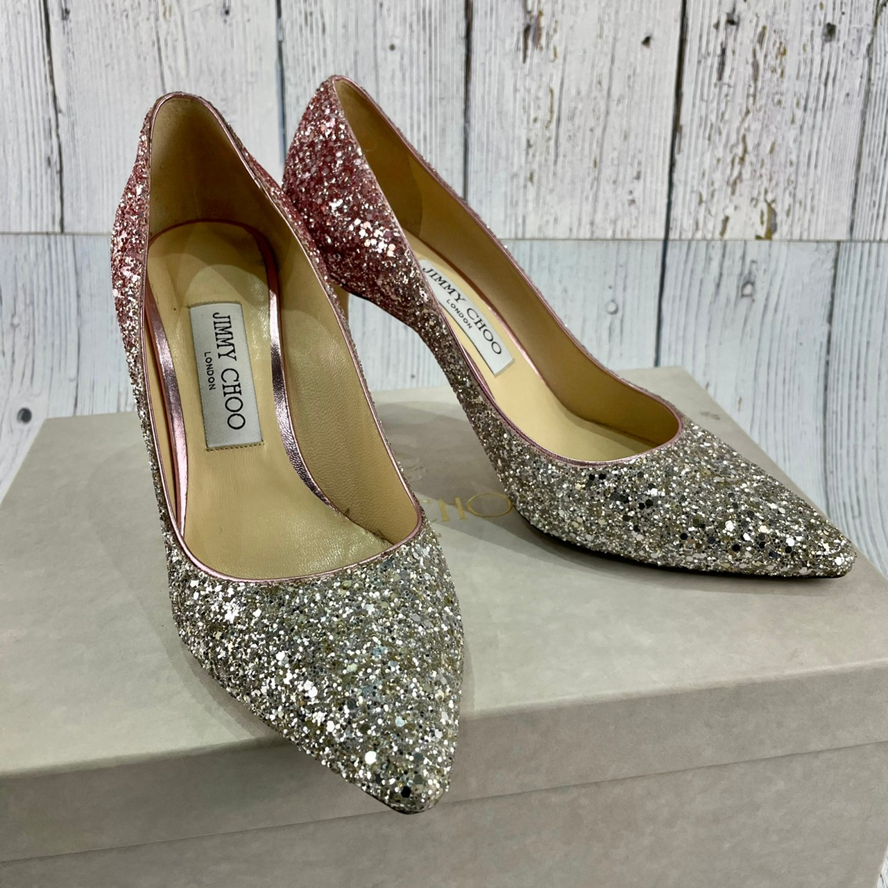 BRAND楓月 JIMMY CHOO 粉紅色 銀色 亮片 漸層 高跟鞋 尖頭鞋 婚鞋 女鞋 #37.5