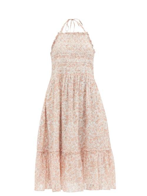 Loveshackfancy - Ottawa Floral-print Cotton-voile Dress - Womens - Pink Multi