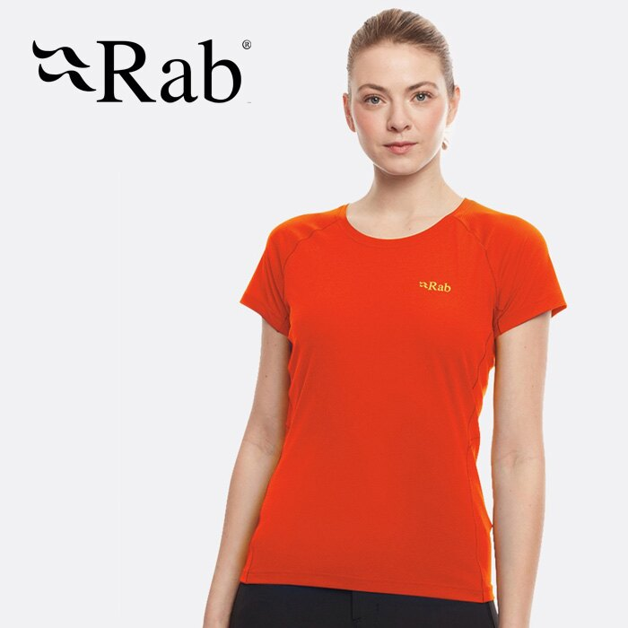 【Rab 英國】Pulse 短袖排汗衣 登山排汗衣 機能衣 運動上衣 女款 葡萄柚 (QBU-80)