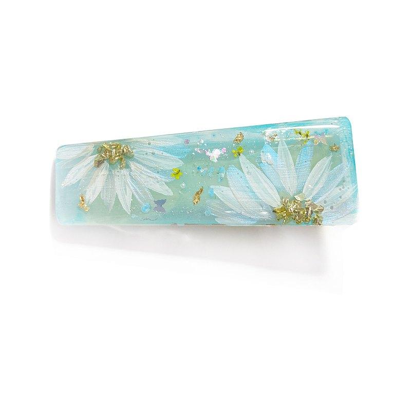 日本樹脂夏日蘇打汽水手繪花朵髮夾.髮飾
