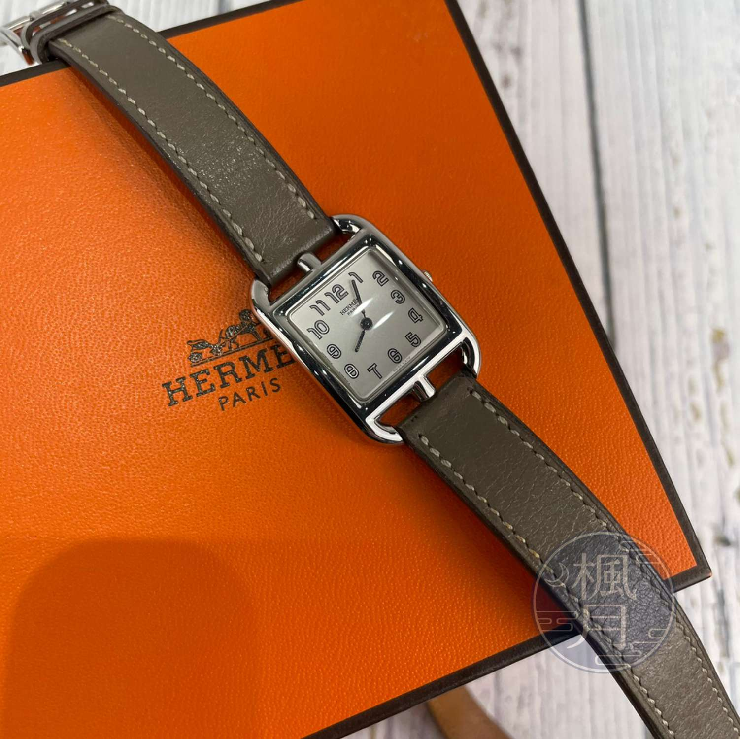 BRAND楓月 HERMES 愛馬仕 CC1.210 H女錶 QZ 石英錶 手錶 腕錶 時計 方錶盤 銀針 雙圈錶帶設計