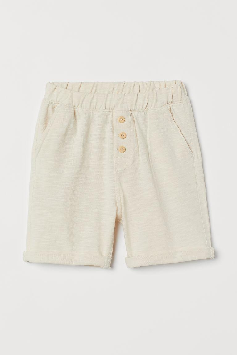 H & M - 粗紡棉質短褲 - 米黃色