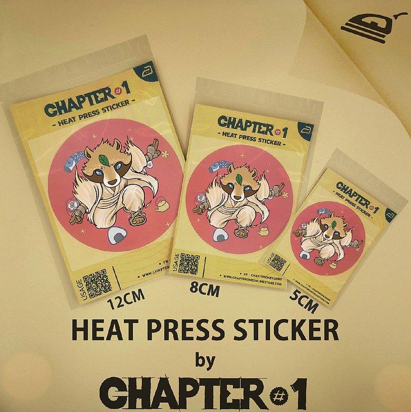 Tanuki設計的熱軋貼紙,尺寸5、8、12厘米。