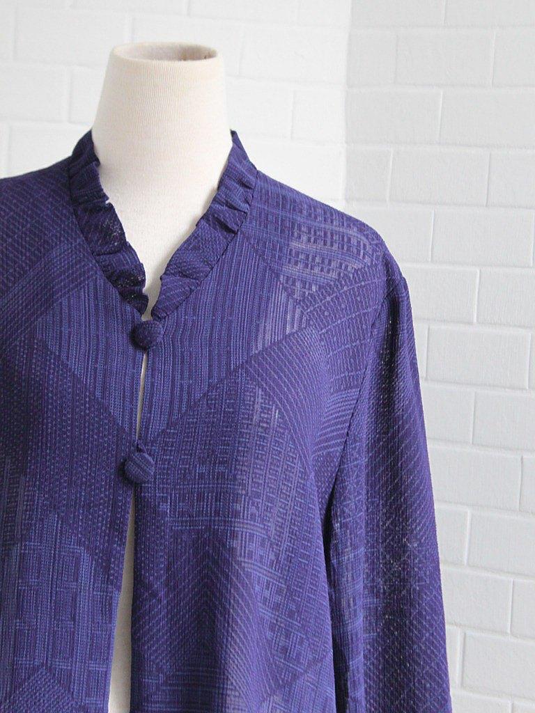 夏日本製復古幾何針織印花立領涼感藍紫色寬鬆短袖古著襯衫