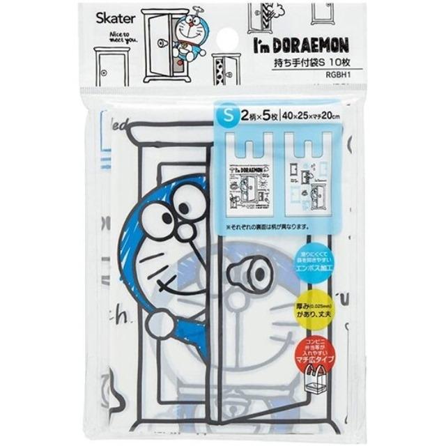 哆啦A夢 透明環保塑膠袋組 環保購物袋 便當袋 手提袋 (S 10入 藍)