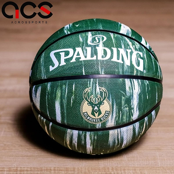 Spalding 籃球 NBA Miwaukee Bucks Rubber 綠 黃 白 7號球 室外 大理石印花 運動休閒 【ACS】 SPA84148