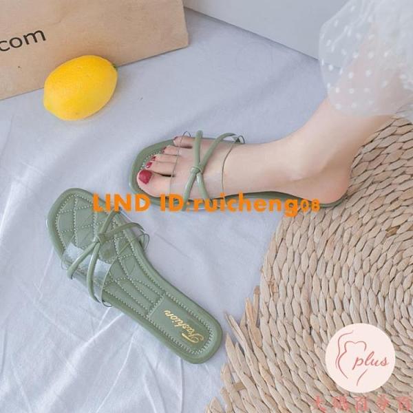 一字涼拖鞋女外穿夏平底時尚百搭透明一字拖鞋防滑