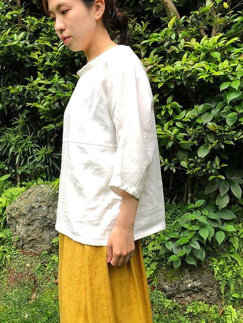 米白色麻Dolman 袖套頭衫