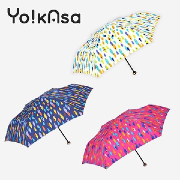 【Yo!kAsa】繽紛色彩 可愛魚點 晴雨手開傘(三色任選)桃紅