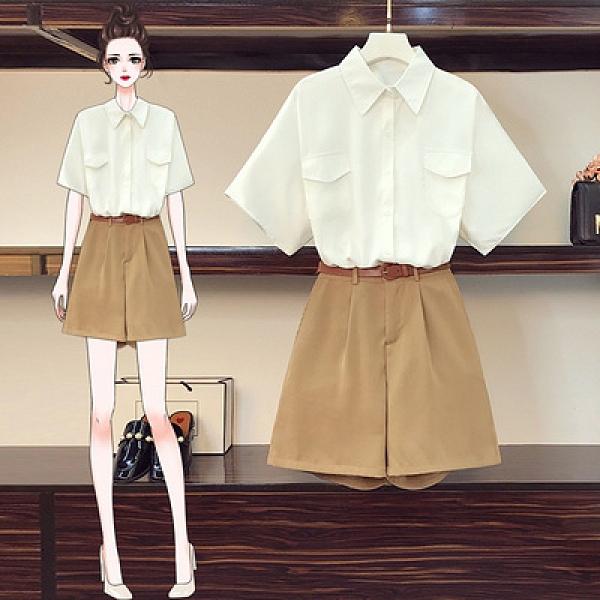 L-4XL大碼時尚套裝時尚寬松襯衫短褲兩件套裝 六零八 1F165 胖妞衣櫥