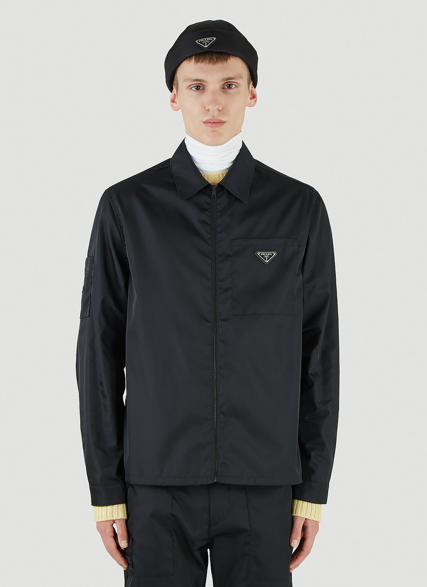 male Black 100% Recycled Nylon. Dry clean.