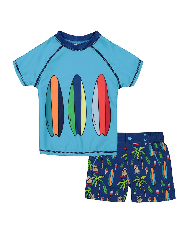 Boy's Dog Print Short-Sleeve Rash Guard w/ Matching Swim Shorts, Size 3-24 Months
