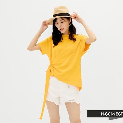 H-CONNECT 韓國品牌 女裝-純色不規則衣襬抽繩設計T-Shirt-黃色