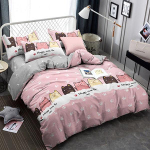 BUTTERFLY-柔絲絨四件式兩用被床包組-萌貓歡樂多(加大)