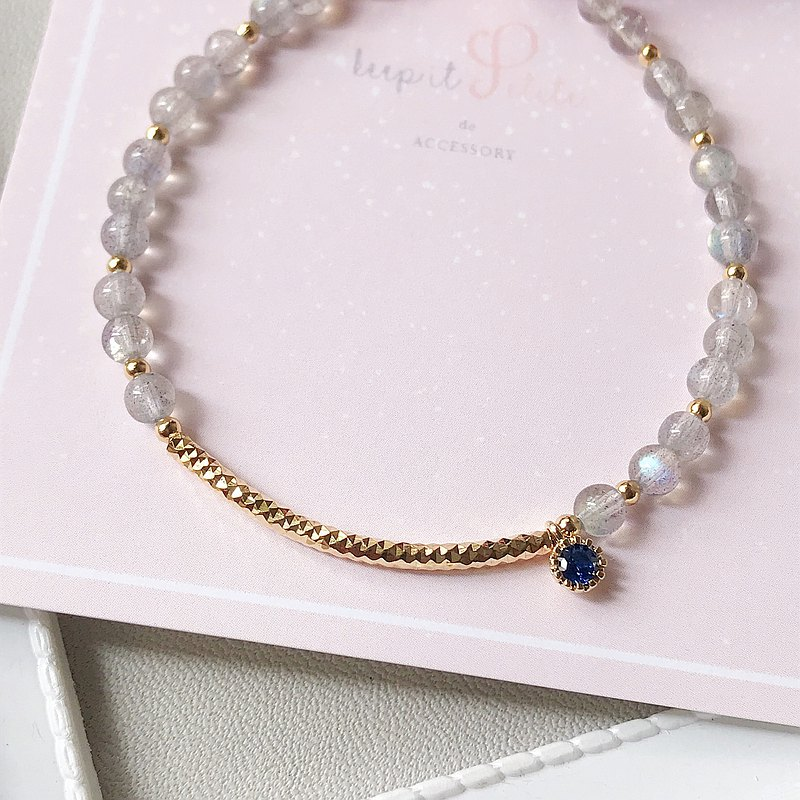 灰月光石 小圓鋯石 鍍金彎管手鍊 姊妹禮物 閨蜜 生日 禮物