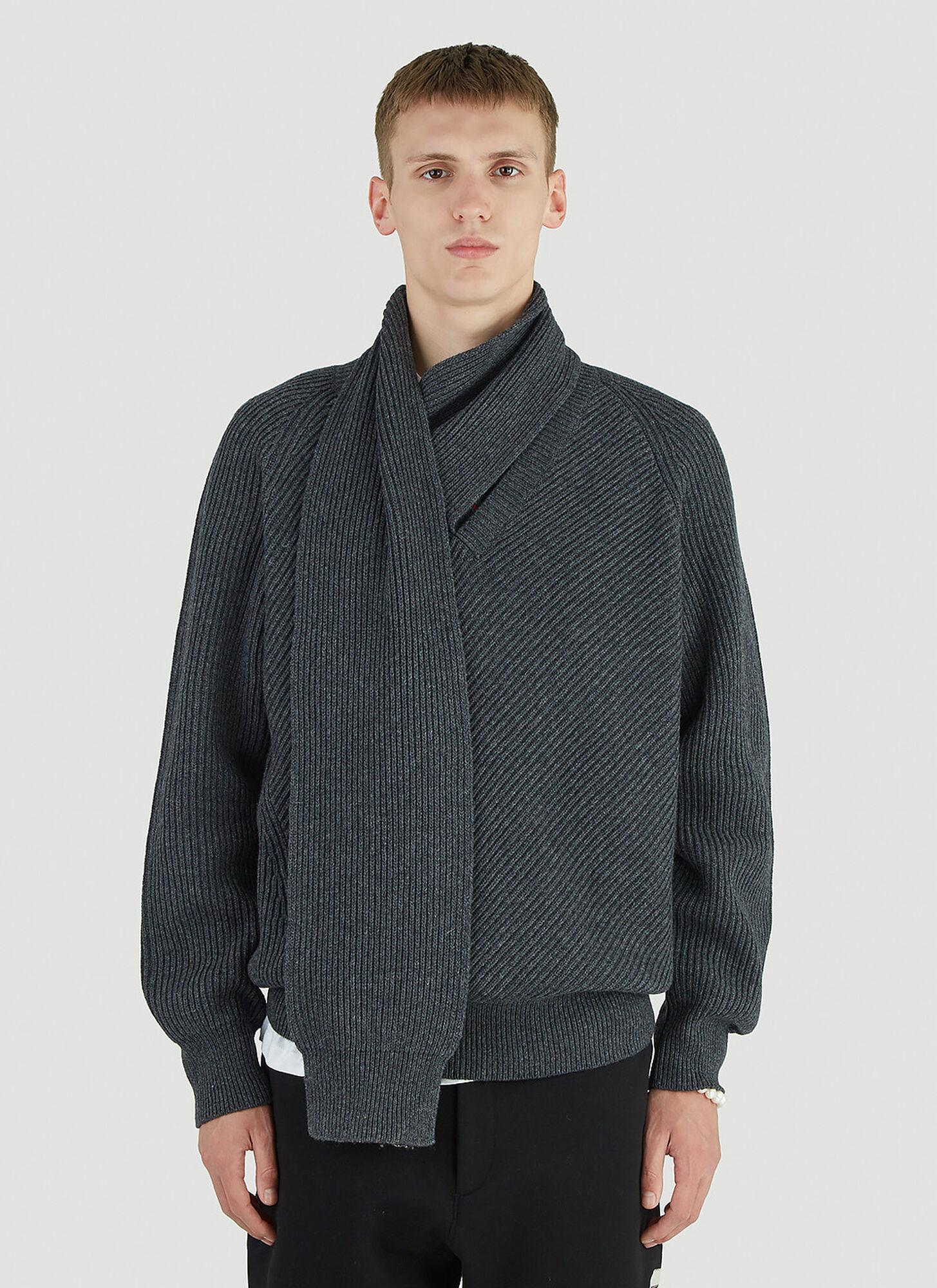 male Grey 100% Wool. Dry clean.