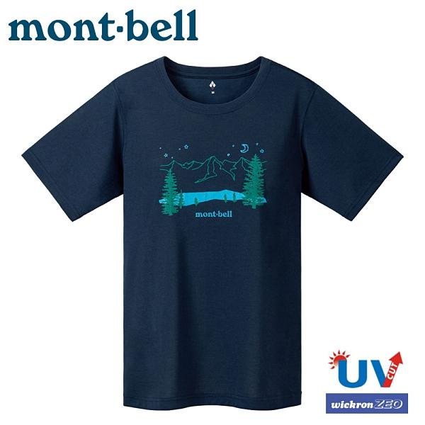 【Mont-Bell 日本 女 WIC.T BLUE LAKE 藍湖短袖排汗T恤《海軍藍》】1114482/圓領衫/排汗衣