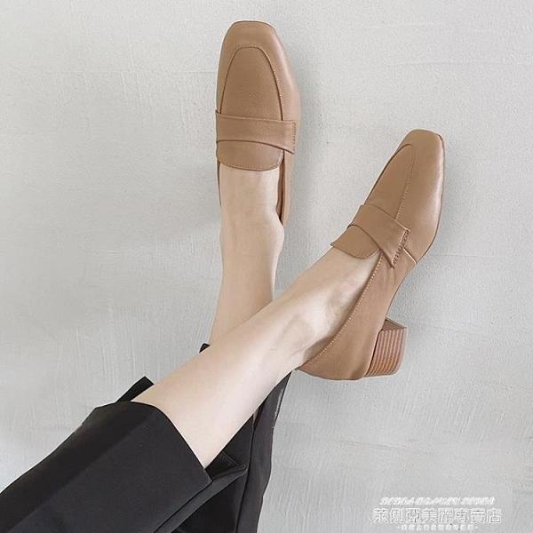 中跟鞋 真皮粗跟高跟單鞋女2021春新款韓版復古百搭中跟樂福鞋軟底奶奶鞋 【618 狂歡】