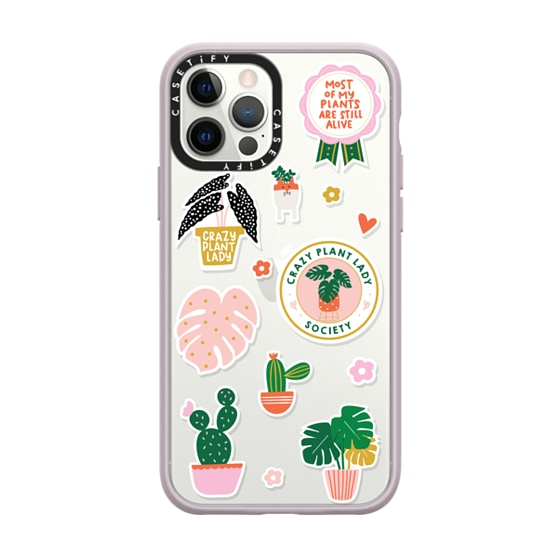 CASETiFY iPhone 12 Pro Impact Case - Crazy Plant Lady stickers