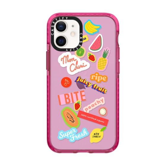 CASETiFY iPhone 12 mini Impact Case - Fruitty Tutty Stickeres