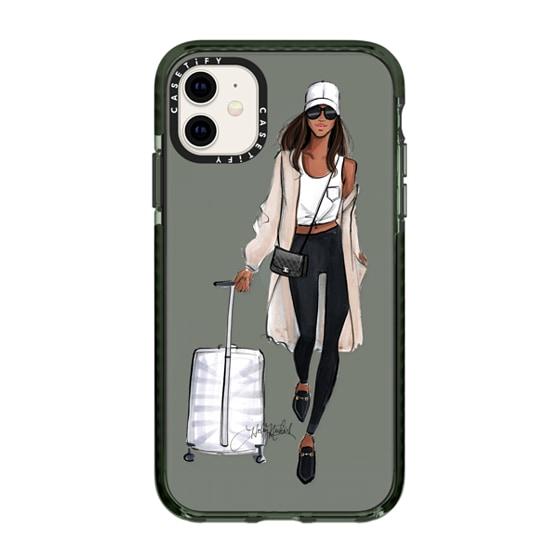CASETiFY iPhone 11 Impact Case - Ready, Set, Jet- Deep Skin Travel Girl Fashion Illustration case
