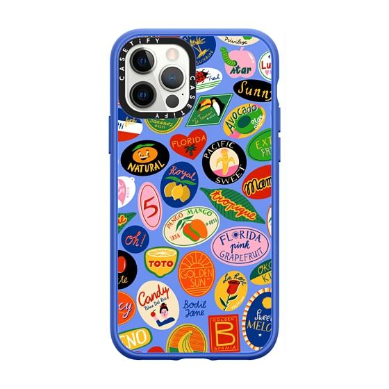 CASETiFY iPhone 12 Pro Casetify Black Impact Resistance Case - FRUIT STICKERS BY BODIL JANE