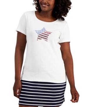Karen Scott Petite Rhinestone-Embellished T-Shirt, Created for Macy's