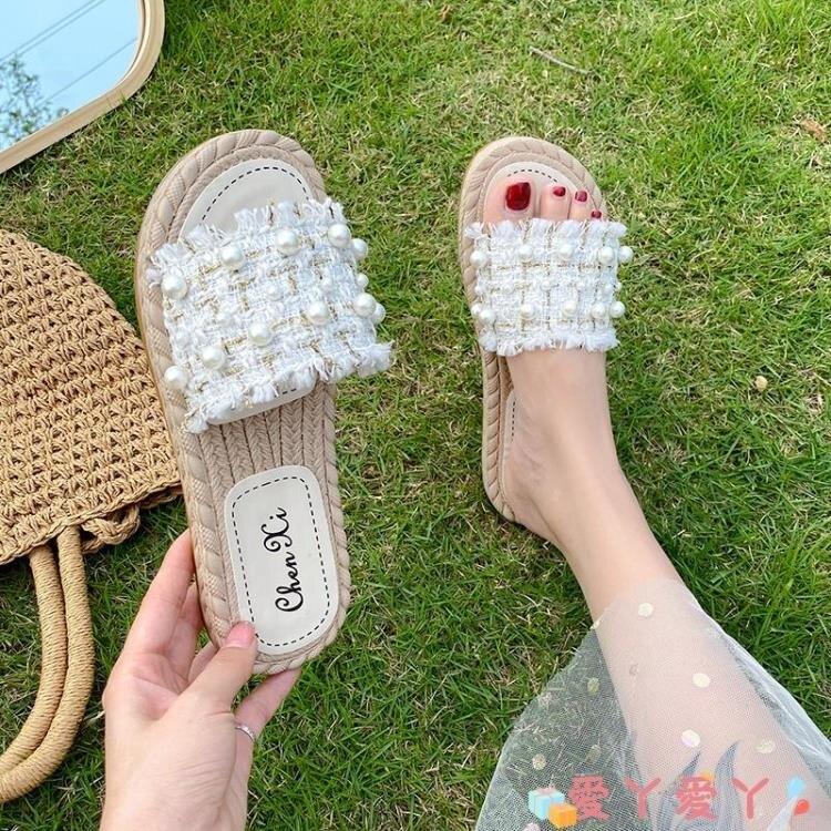 「樂天優選」沙灘鞋 拖鞋女夏外穿2021年新款風網紅時尚超火平底仙女風沙灘鞋海邊