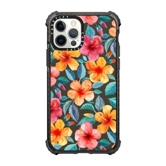 CASETiFY iPhone 12 Pro Ultra Impact Case - Bright Happy Hibiscus Flowers in Watercolor on Clear