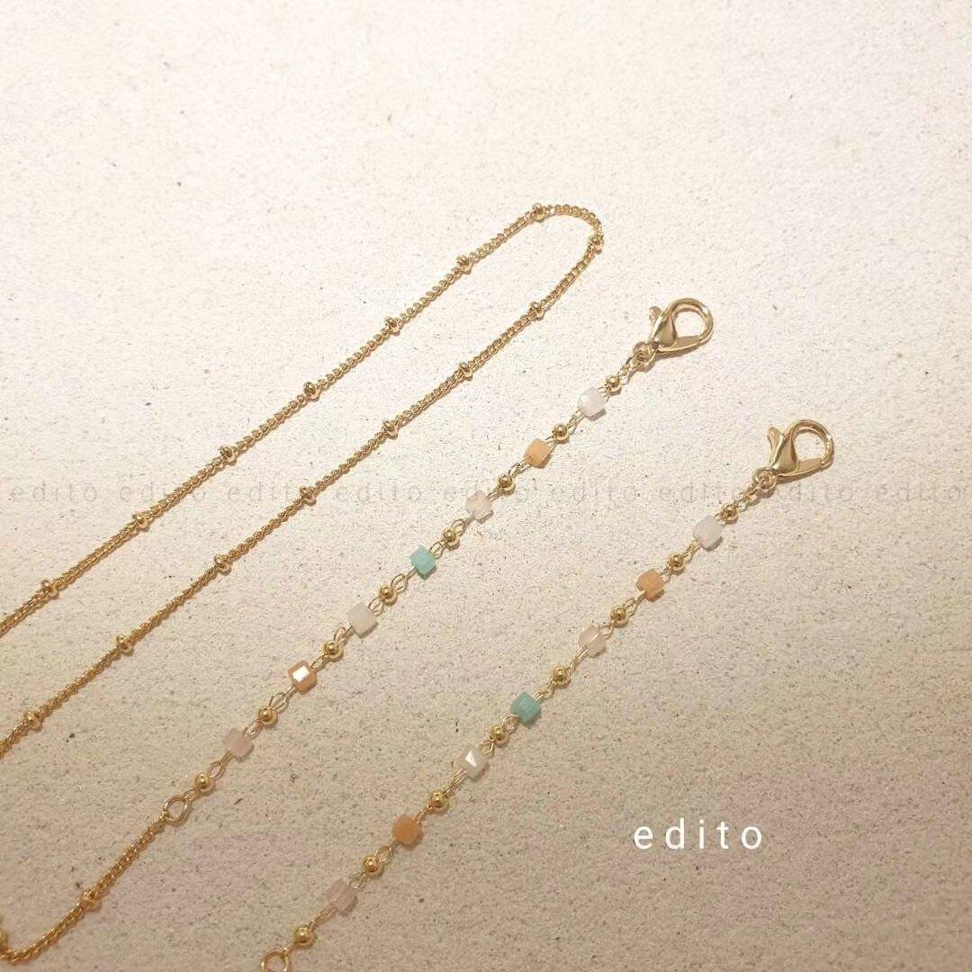 口罩掛繩 飾品糖果色珠子拼色口罩掛鍊戶外防丟繩小清新掛繩掛脖【HZL1218】