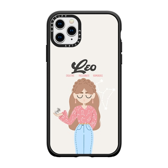 CASETiFY iPhone 11 Pro Max Casetify Black Impact Resistance Case - Leo 6 Phone Case by The Beau Stud