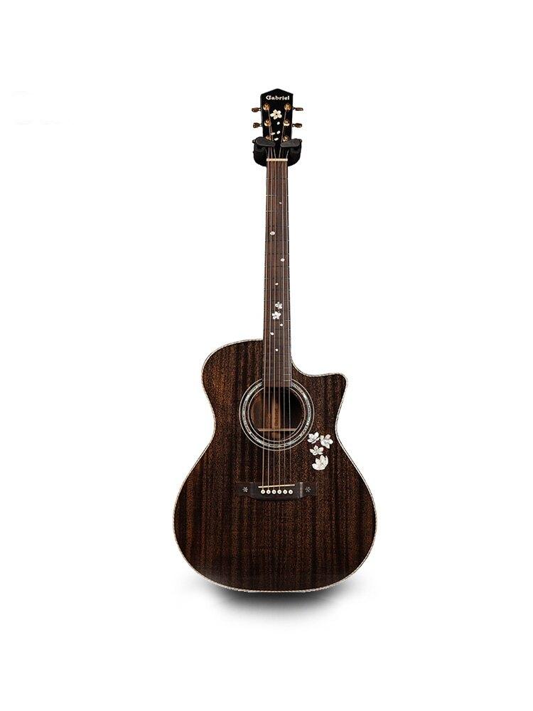 吉他 gr52全單吉他民謠手工進階木吉他電箱加振震41寸【HZL1244】