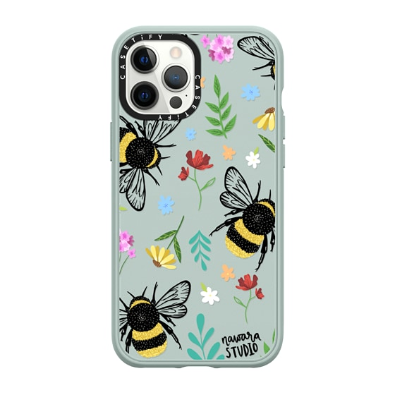 CASETiFY iPhone 12 Pro Max Casetify Black Impact Resistance Case - Bees In Love