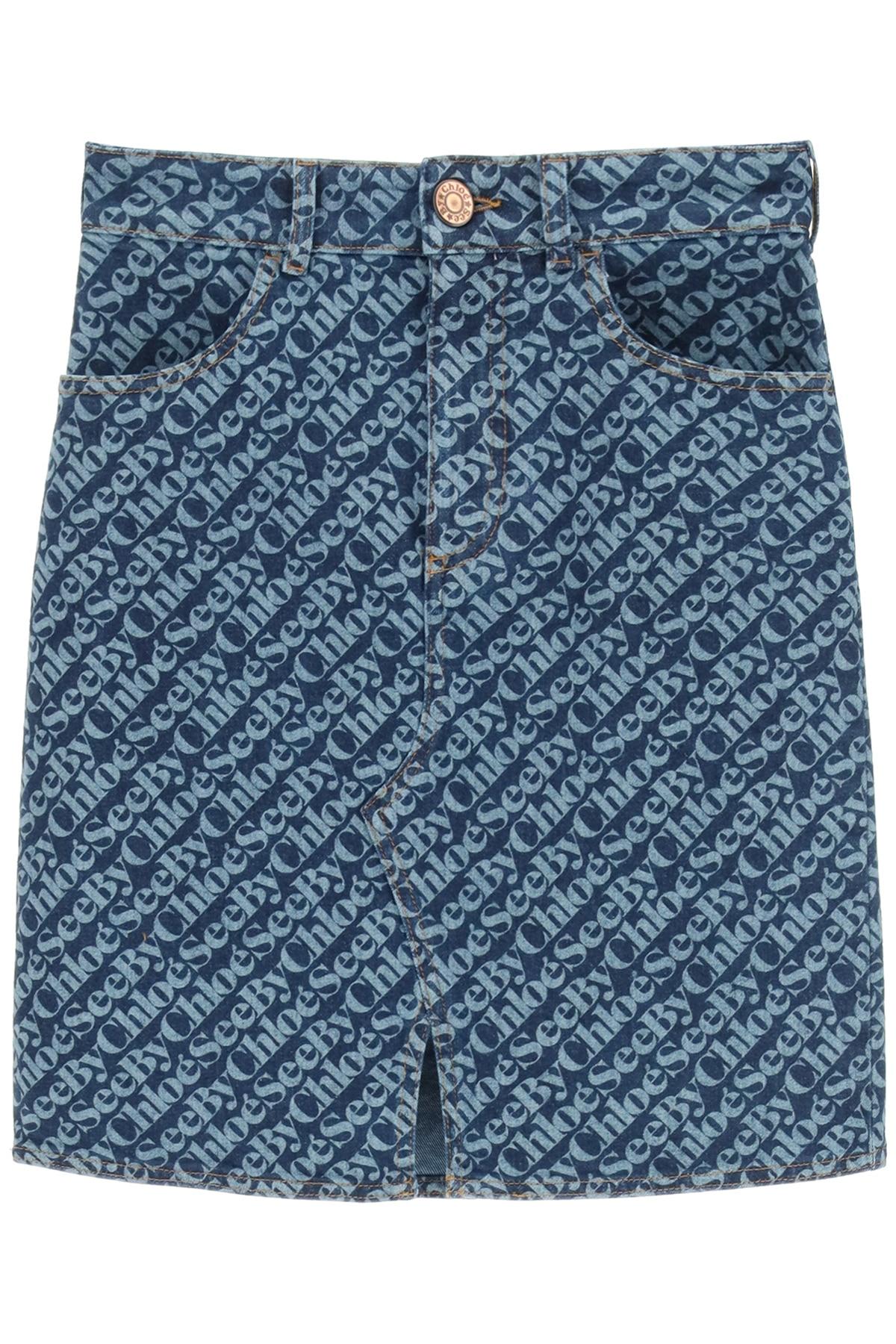 SEE BY CHLOE MONOGRAM DENIM MINI SKIRT 36 Blue Cotton, Denim