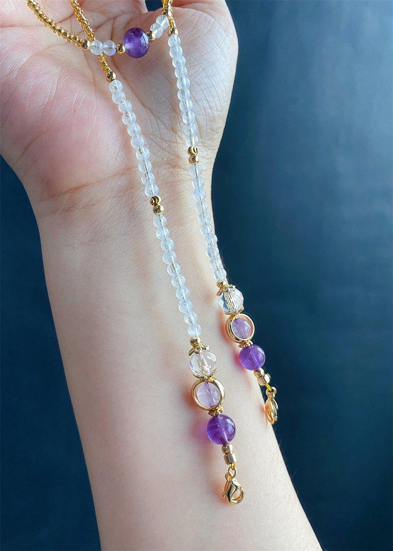 時尚防疫 口罩鍊 眼鏡鍊 月光石 白水晶 薰衣草 紫水晶 禮物 閨蜜