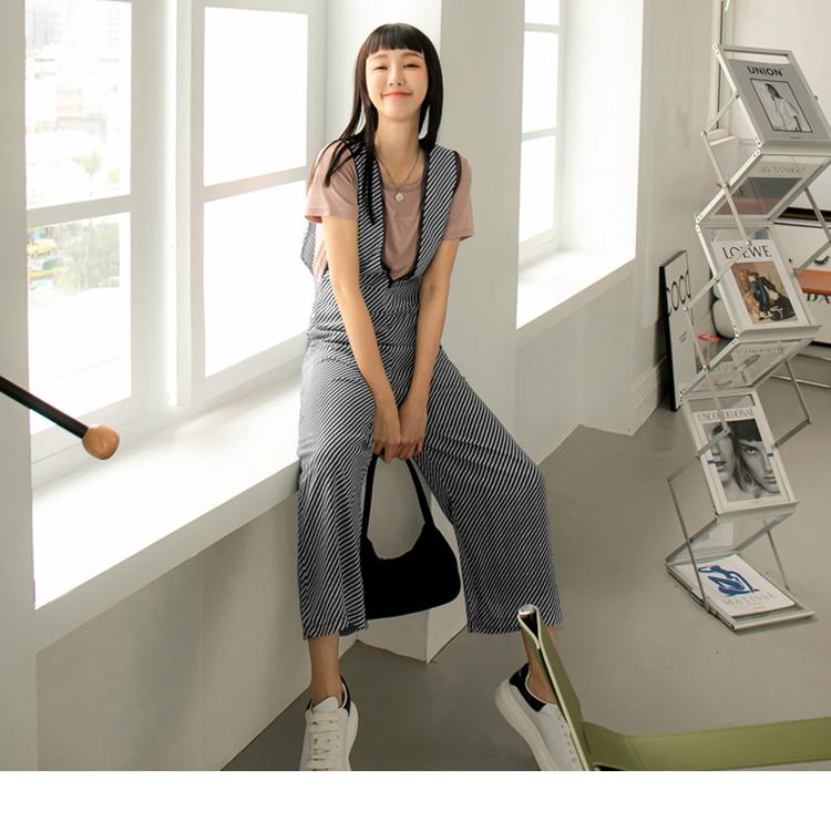 斜紋拼接網紗綁帶連身長寬褲
