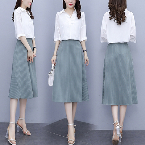 洋裝裙子套裝L-5XL大碼套裝胖mm氣質寬松襯衫條紋a字半身裙兩件套N181依佳衣