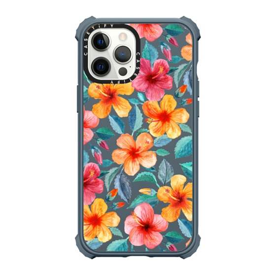 CASETiFY iPhone 12 Pro Max Ultra Impact Case - Bright Happy Hibiscus Flowers in Watercolor on Clear
