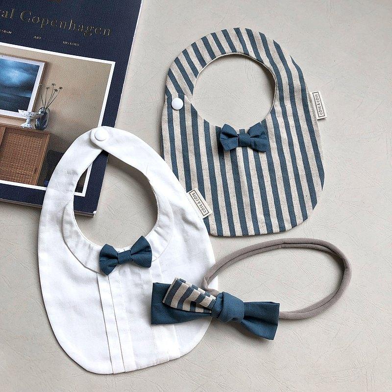 【3件組禮盒優惠】喬治王子+復古條紋點點 立體領結 口水巾